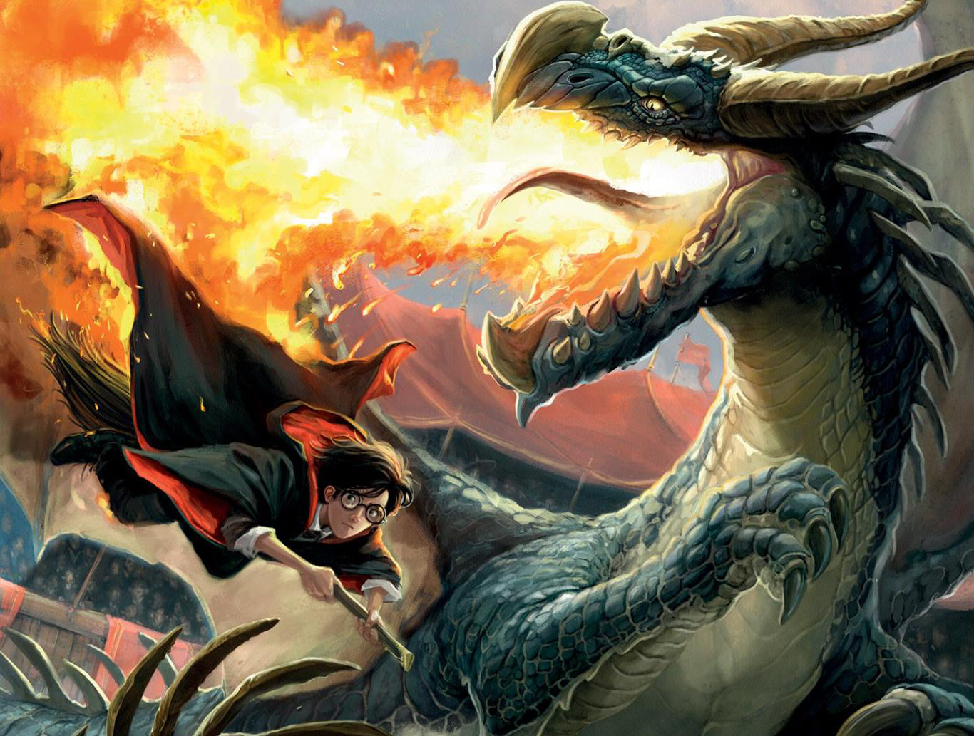 Cover art of Harry dodging dragon fire.