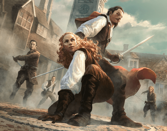 Two swashbucklers fighting thugs, 7th Sea cover art.