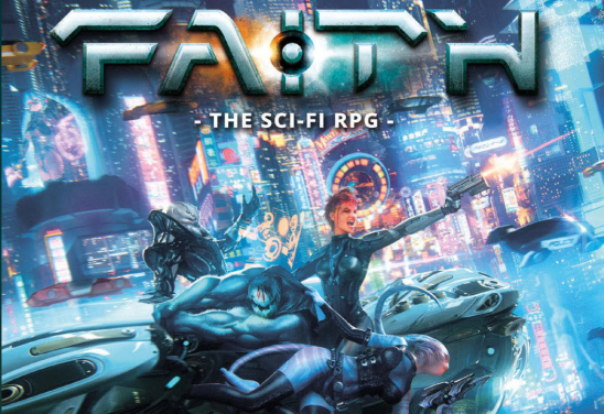Art from the FAITH RPG, showing several characters fighting on a hover vehicle.