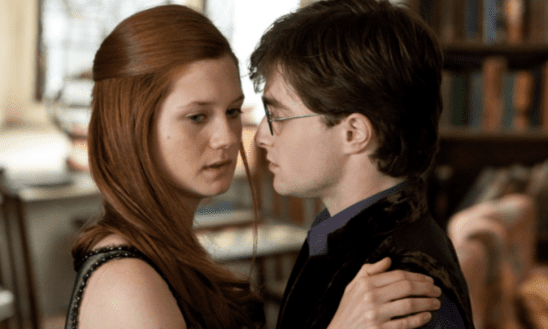 Ginny turning away from a kiss with Harry.