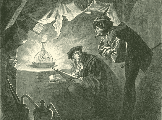 Two men staring at a baby homunculus in a jar.