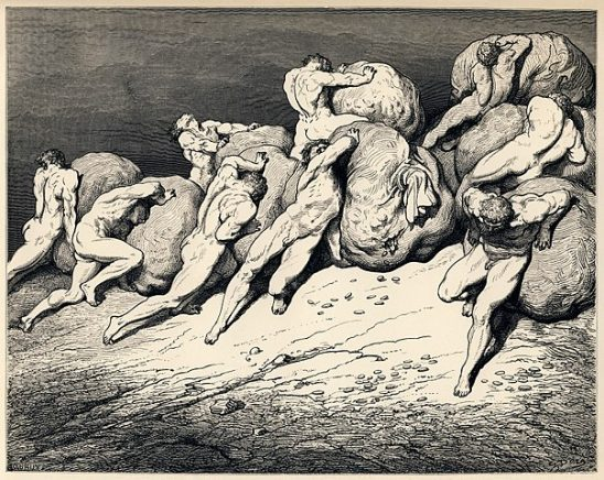 A black and white illustration of Sisyphus pushing his rock.