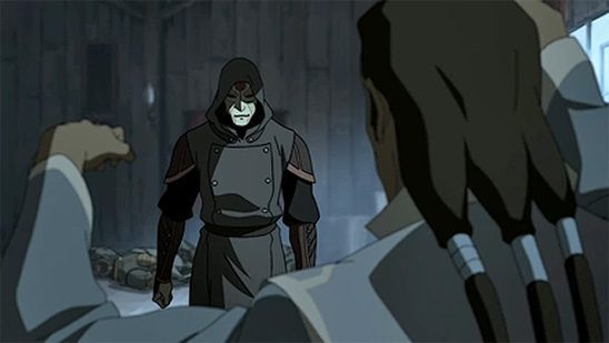 The masked Amon about to fight a waterbender.