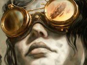 a woman wears steampunk goggles on the cover of Boneshaker