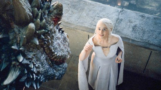 Daenerys reaching for her dragon.