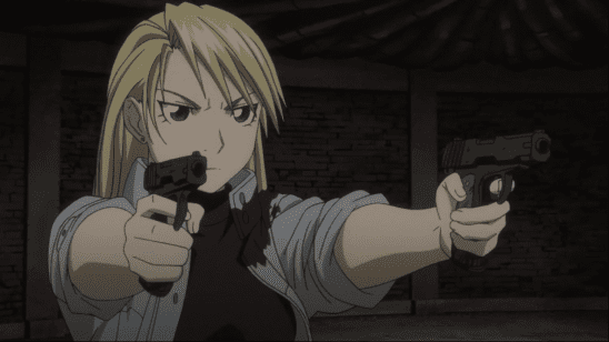 Hawkeye with her guns.