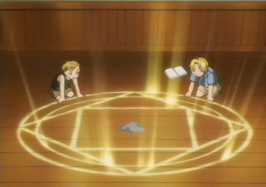 Ed and Al activating a transmutation circle.