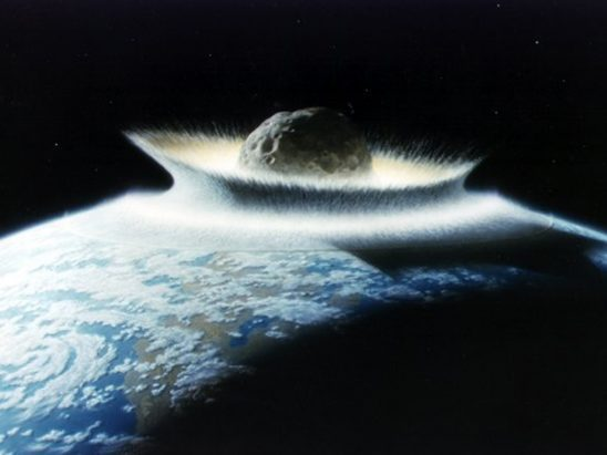 A massive asteroid impacting Earth.