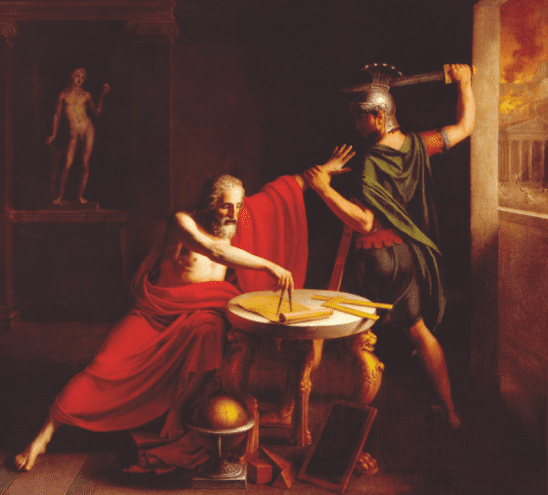 Painting of Archimedes' death.