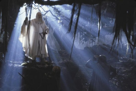 Gandalf the White meeting the remains of the Fellowship after his resurrection.