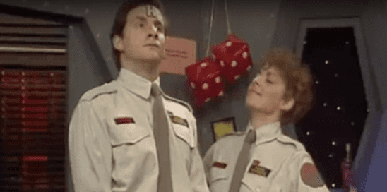 Two mirrored characters from the Red Dwarf episode Parallel Universe