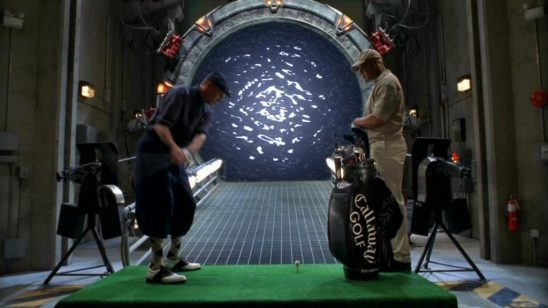 O'Neill and Teal'c playing golf at the stargate.
