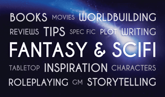 Fantasy and scifi word collage