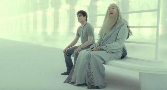 Harry and Dumbledore in the afterlife.