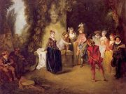 A painting of a French theatrical production.