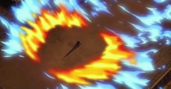 Zuko splitting Azula's blue fire with his own.