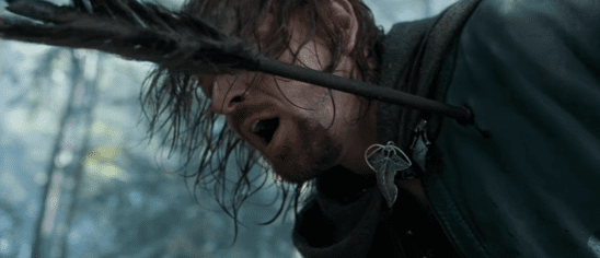 Boromir struck by orc arrows.