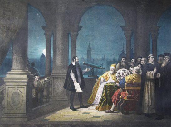 Galileo presenting a telescope.