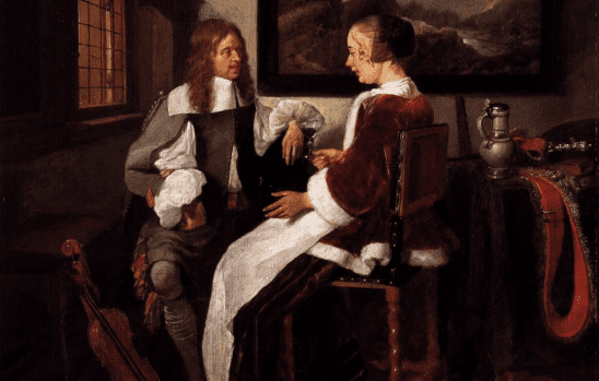 A classic painting of two people talking.
