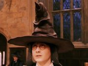 Harry Potter wearing the sorting hat