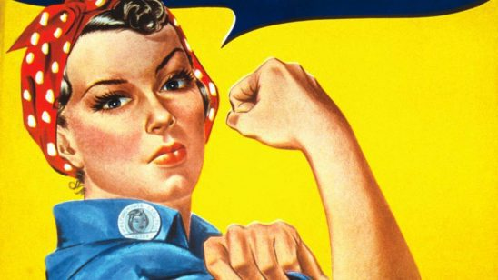 A close in picture of Rosie the Riveter.