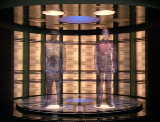 Geordi and Ro transporting in Star Trek: The Next Generation