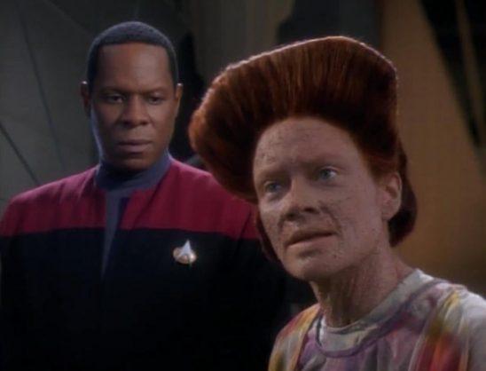 Avery Brooks and Deborah May in Star Trek: Deep Space Nine