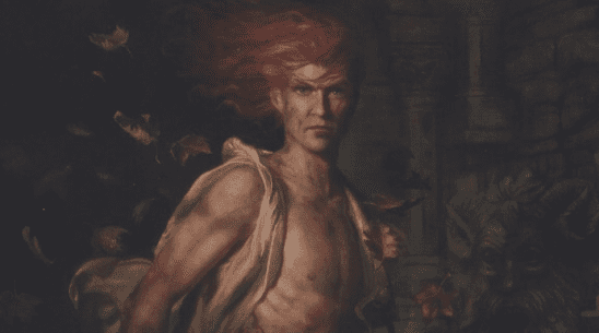 An extremely muscular Kvothe from cover art of Name of the Wind.