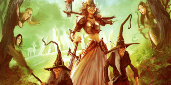 Magrat, Nanny Og, and Granny Weatherwax from the French cover of Lords and Ladies.