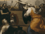 A classical painting of two women fighting a duel.