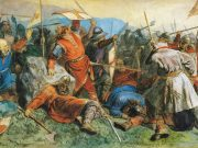 A painting of Viking Age warriors engaged in battle.