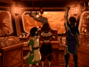Toph, Suki, and Sokka in a Fire Nation airship.