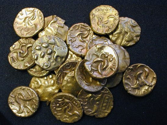 A pile of old coins.