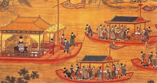 A Chinese painting of multiple river boats.