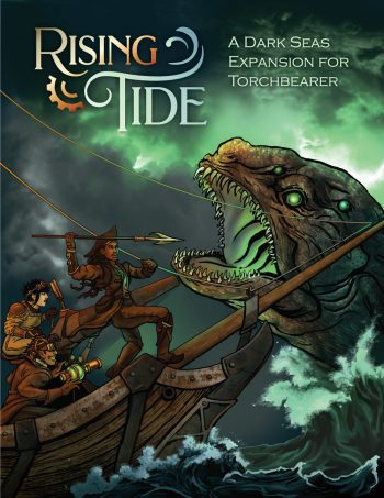 Sailors battle a sea monster on the cover of Rising Tide
