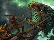 Steampunk sailors battle a sea monster