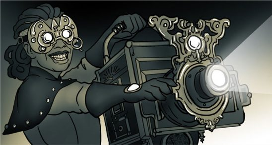A scientist with a steampunk projector.