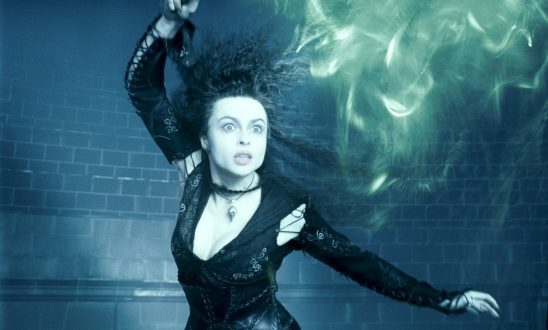 Bellatrix casting a spell from the Harry Potter films.