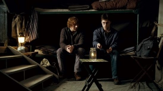 Ron and Harry in their Deathly Hallows tent.