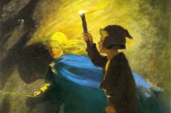 A painting of a boy holding a torch and a girl in a blue cloak.