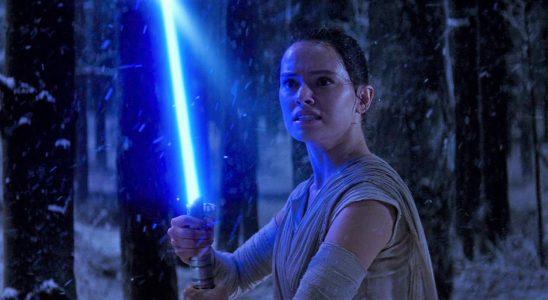 Rey with Luke's lightsaber in Phantom Menace.