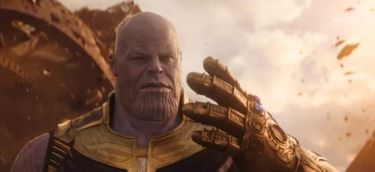 Thanos with his gauntlet from Avengers: Infinity War