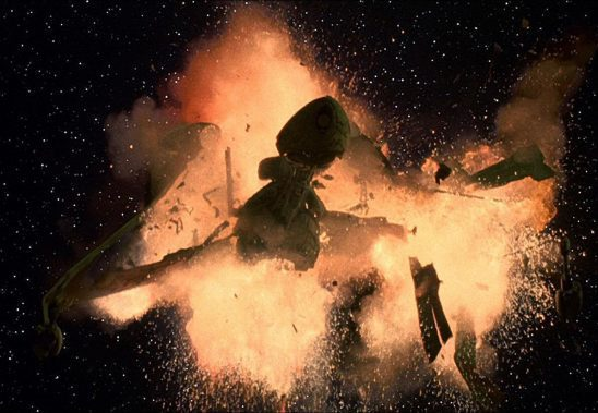A bird of prey exploding, from footage used in both Undiscovered Country and Generations.