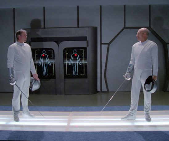 Picard from The Next Generation getting ready to fence with an unnamed opponent.