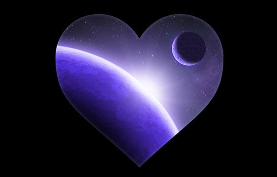 A heart framing a purple space scene with a planet and moon