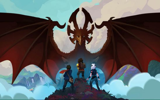 A dragon overshadows two young humans and an elf