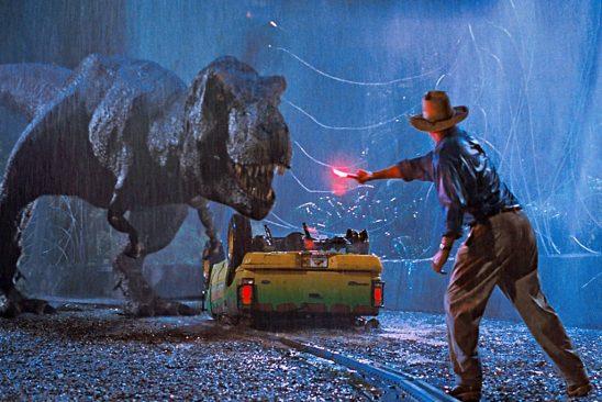 Dr. Grant distracting a T-Rex with a road flare in Jurassic Park.