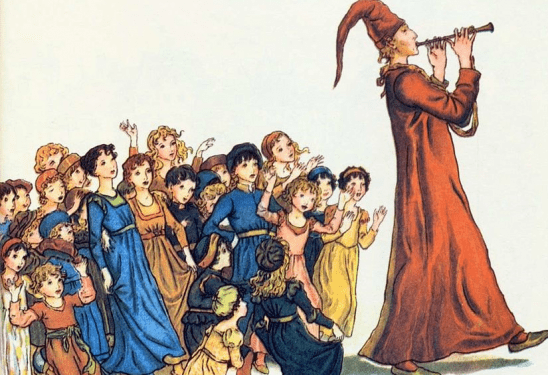 The Pied Piper leading children away from town.