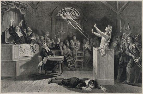 A lightning bolt crashing through the church window during the Salem Witch Trials.