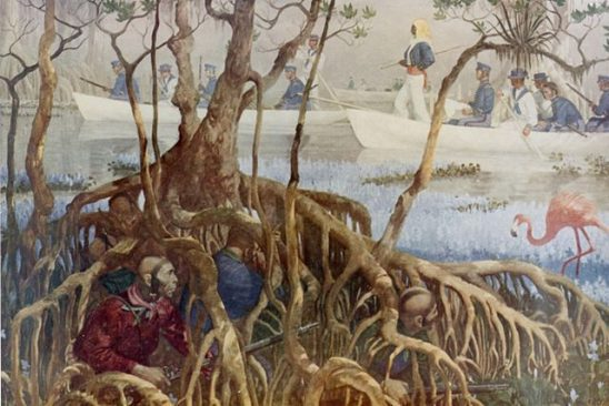 A painting of Seminole soldiers preparing to ambush the US Army.